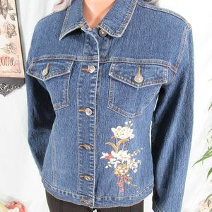 Adolfo Jeans Blue Button Up Embroidered Jacket S